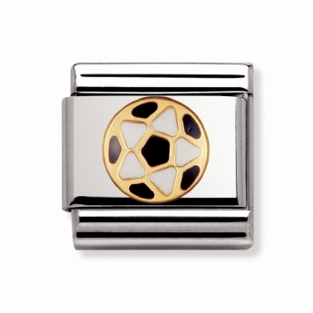 Nomination Classic Sports White and Black Football Charm Link