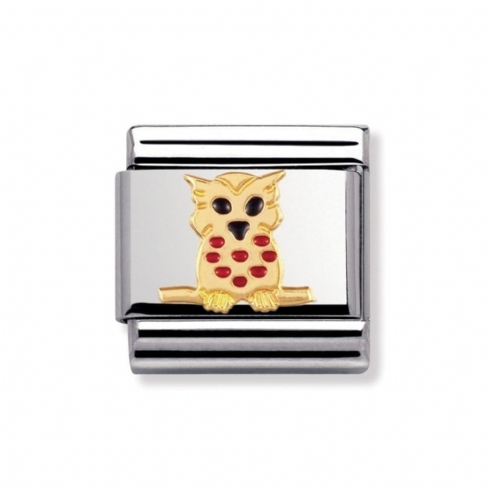 Nomination Classic Animal Enamel Owl Charm Link