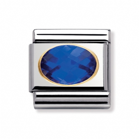 Nomination Classic Blue Facet Oval Charm Link