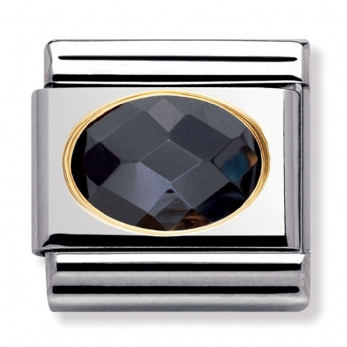 Nomination Classic Black Oval Facet Charm Link