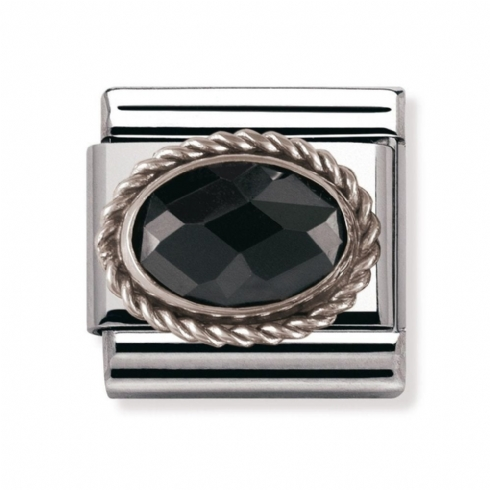 Nomination Classic Black Facet Oval Charm Link