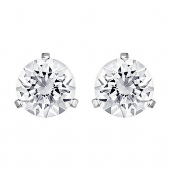 Swarovski Silver Tone Solitaire 3 Claw Earrings