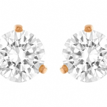 Swarovski Solitaire 3 Rose Tone Claw Stud Earrings