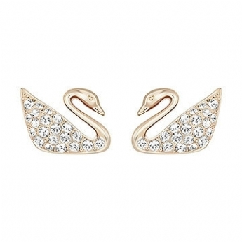 Swarovski Rose Tone Mini Swan Stud Earrings