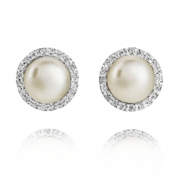 Jersey Pearl Amberley Freshwater Cultured Pearl Sterling Silver with Cubic Zirconia Cluster Earrings