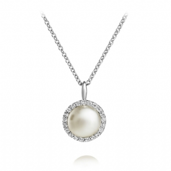 Jersey Pearl Amberley Freshwater Cultured Pearl with Surrounding Cubic Zirconia Cluster Necklace