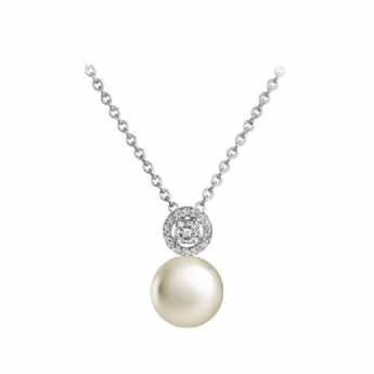 Jersey Pearl Amberley Freshwater Cultured Pearl with Cubic Zirconia Top Cluster Drop Necklace