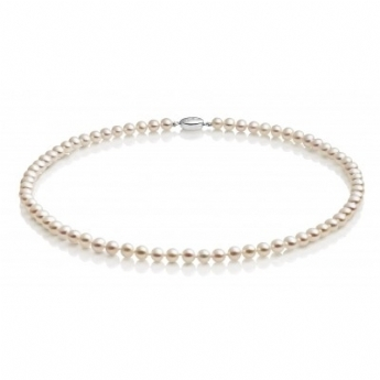 Jersey Pearl White Freshwater Cultured Pearl 5x5.5mm 18'' Necklet