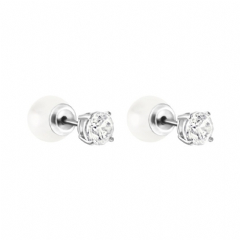 Swarovski Attract Cubic Zircnoia and Swarovski Pearl Stud Earrings