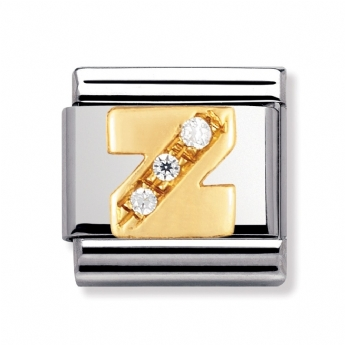 Nomination Classic Gold and CZ Initial Z Charm Link