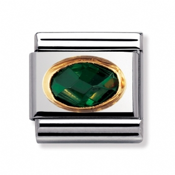 Nomination Classic Dark Green Facet Oval Charm Link