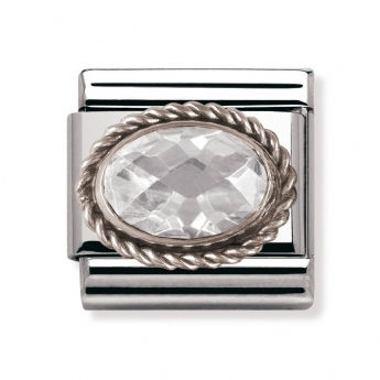 Nomination Classic Clear Facet Silver Oval Charm Link