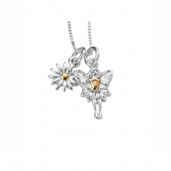 D for Diamond Yellow Gold Plated Fairy and Daisy Necklace