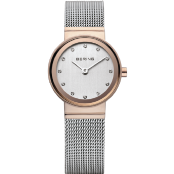 Bering Ladies Stainless Steel and Rose CZ Dial Watch