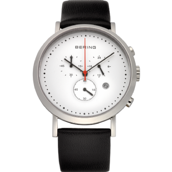 Bering Black Leather Chronograph White Dial Watch