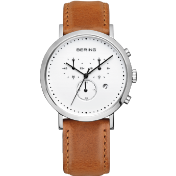 Bering Brown Leather Strap Chronograph Watch