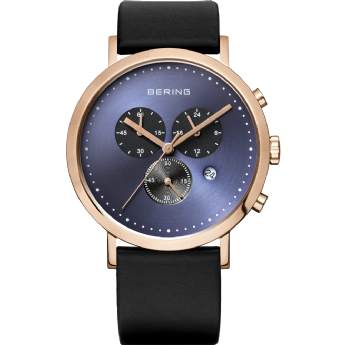 Bering Black Leather Chronograph Blue Dial Watch