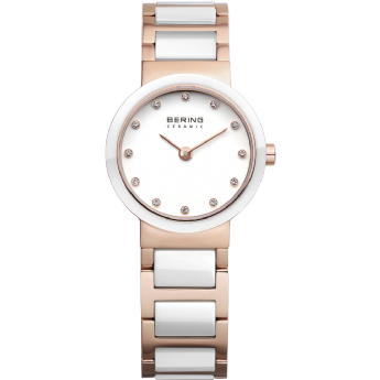 Bering Ladies Rose Gold Tone White Ceramic CZ Dial Watch