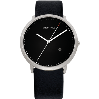 Bering Black Leather Black Dial with Date Watch