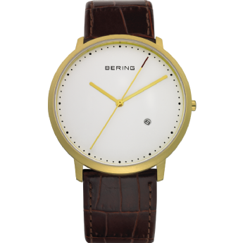 Bering Brown Leather Yellow Tone White Dial with Date Watch
