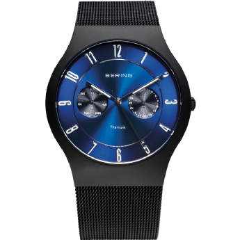 Bering Titanium Case Stainless Steel Blue Dial Watch