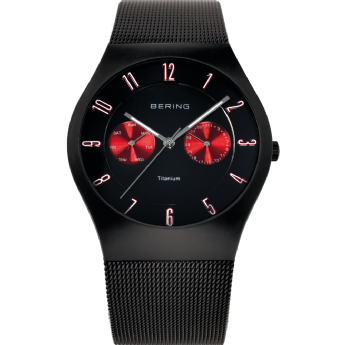 Bering Titanium Case Stainless Steel Blackand Red Dial Watch