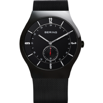 Bering Classic Black Dial Black Strap Watch