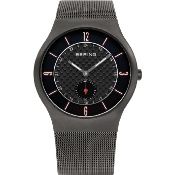 Bering Classic Black Dial Grey Strap Watch