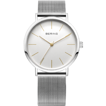 Bering Stainless Steel White Dial with Yellow Gold Index Watch