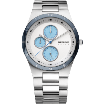Bering Gents Stainless Steel and Ceramic Light Blue and White Dial Watch