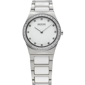 Bering Ladies Stainless Steel and White Ceramic CZ Dial Watch