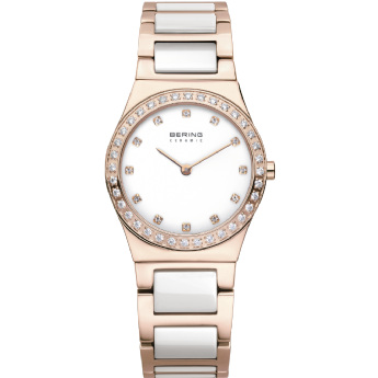 Bering Ladies Rose Gold Colour and White Ceramic CZ Dial Watch