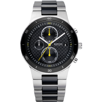 Bering Gents Stainless Steel and Black Ceramic Chronograph Carbon Dial Watch