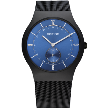 Bering Gents Black Stainless Steel Blue Dial Watch
