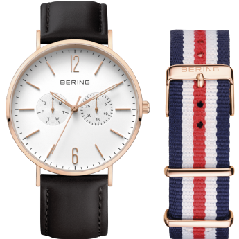 Bering Black Leather Strap Rose Gold Tone Day and Date Watch with Extra Strap