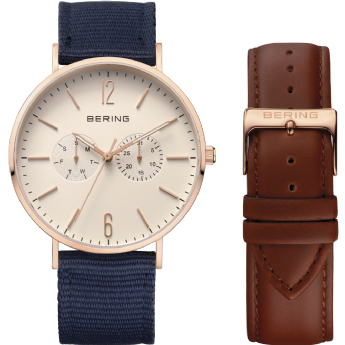 Bering Rose Gold Tone Blue Nylon Strap Watch with Extra Brown Leather Strap