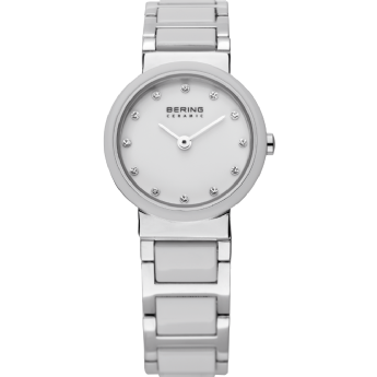 Bering Ladies Stainless Steel and White Ceramic Swarovski Dial Watch