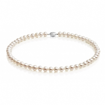 "Jersey Pearl White Freshwater Cultured Pearl 7x7.5mm 16"" Necklet"