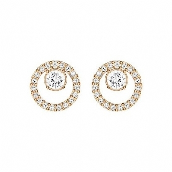 Swarovski Creativity Rose-Gold Tone Plated Small Circles Stud Earrings