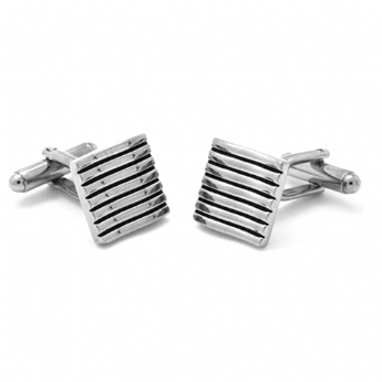 Jos Von Arx Stainless Steel Black Wavy Cufflinks