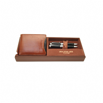 Jos Von Arx Gift Set with Genuine Italian Leather Wallet Ball Point Pen and Roller Pen