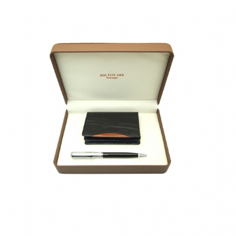 Jos Von Arx Black Leather Business Card Holder and Pen Set