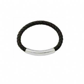 Jos Von Arx Black Leather and Steel Adjustable Bracelet