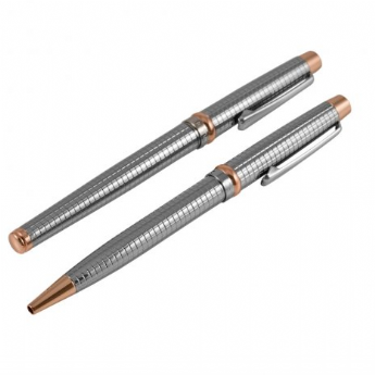 Jos Von Arx Ball Point and Roller Ball Rose Gold Pen Set