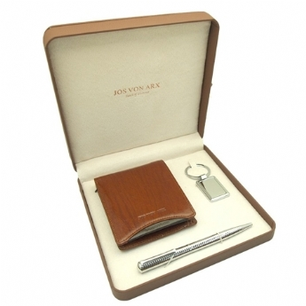 Jos Von Arx Brown Wallet, Pen and Key Chain Gift Set
