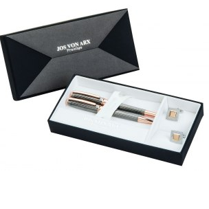 Jos Von Arx Gift Set with Square Rose Tone Cufflinks and Two Pens