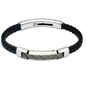 Jos Von Arx Black Leather Bracelet Stainless Steel Bar with Black Centre