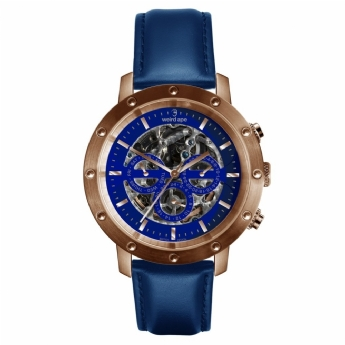Weird Ape Rose Tone Icarus with Blue Leather Strap Watch