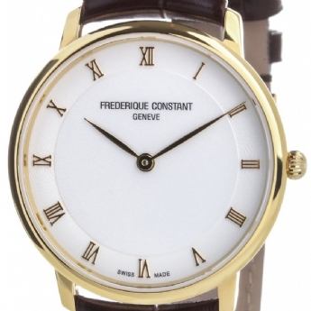 Frederique Constant Gents Yellow Vermeil Watch with Leather Strap FC-200RS5S35