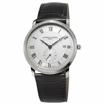 Frederique Constant Stainless Steel and Black Leather Strap Watch FC-245M5S6